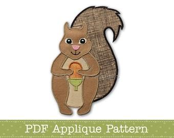 Squirrel Applique Template PDF Applique Pattern Squirrel Holding Acorn Applique Design