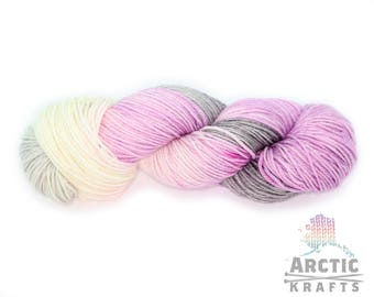 Hand dyed yarn worsted/Aran weight yarn. 100% merino, Alpaca/silk {Haunted heart Iris} Indie dyed variegated yarn. purple, pink, grey cream.