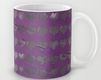Purple Hearts Coffee Mug -  Ceramic Mug - Newspaper Hearts - 11oz - 15oz - Made to Order