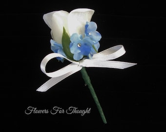 Rose Boutonniere with Forget me nots, White and blue buttonhole flower, Mens lapel pin