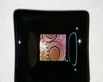 Fused glass trinket dish with dichroic decoration