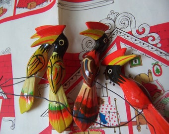wooden lacquer exotic birds