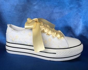Wedding platform Bridal platform Custom Sneakers Wedding shoes wedge Wedding wedges Bridal wedges for birde Wedding tennis shoes for bride