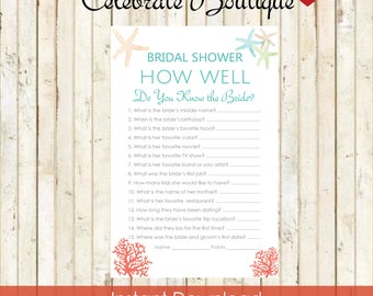 Beach Bridal Shower Instant Download How well do you know the Bride Bridal Shower Games Beach Theme Bridal Shower Nautical Shower Coral 0001