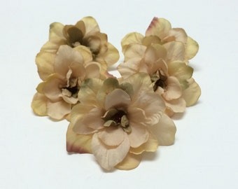 Silk Flowers - 5 Delphinium Blossoms in Taupe - 3 Inch Size - Artificial Flowers