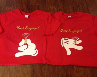 Disney Just Engaged Mickey Minnie Proposal Customized T-Shirt