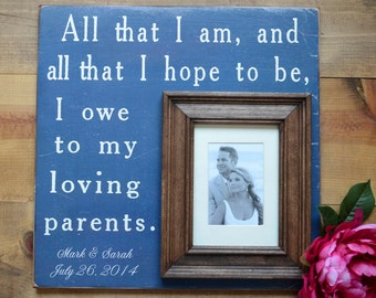 Wedding Gift for Parents, Parents of the Bride Frame, Parents of the Groom Frame, Personalized Picture Frame, 16x16