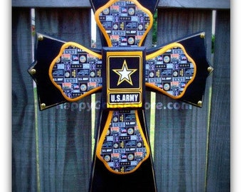 Wall Cross - Wood Cross - Military - Medium - US Army (can be made in any branch)