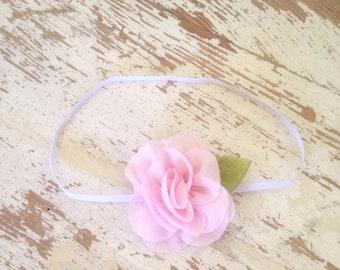 Baby Headband, Light Pink Flower Headband, Skinny Headband, Flower and Leaf Headband, Chiffon Flower Headband