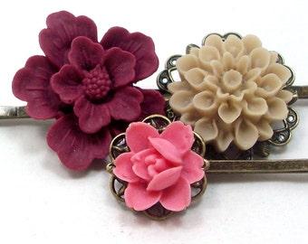 Flower Hair Pins . BURGUNDY