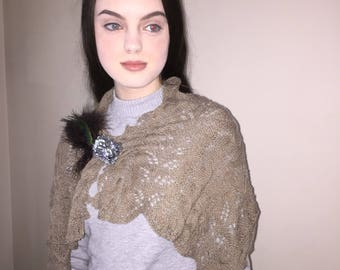 Lace and Cable Taupe Cashmere Scarf