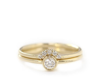 Diamond Simple Wedding Ring Set,Delicate Engagement Ring, 0.15 Carat Diamond, Round Cut Diamond Ring,Diamond Crown Ring,Curved Wedding Ring