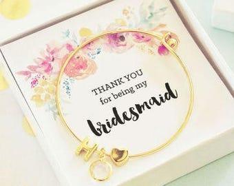 Gold Monogram Bracelet - Floral Insert