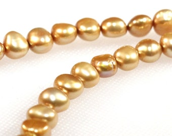 7.5 mm golden side drilled potato pearls