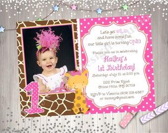 Wild One Giraffe 1st Birthday Photo Invitation Invite Picture first birthday Invitation Printable Party