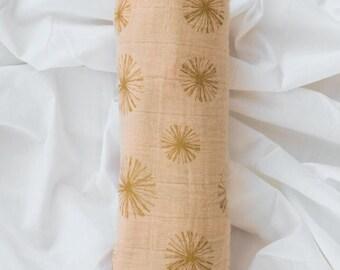 Make A Wish Metallic Muslin Swaddle Blanket | Receiving Blanket | Baby Shower Gift |