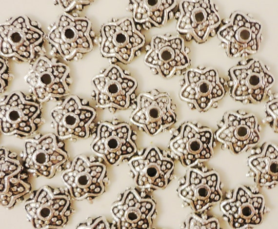 Silver Bead Caps 7mm Antique Silver Metal Star Beadcap End Cap Lead Free Jewelry Making Jewelry Findings Fits 7-9mm Beads 50pcs