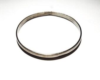 Vintage Mexico Signed Silver Bangle Bracelet