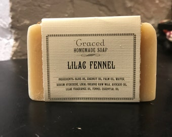 Handcrafted Natural Lilac Fennel Bar Soap