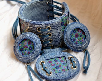 Jeans jewelry set Polymer clay jewelry for women  Blue jewelry set Jeans bracelet Jeans pendant earrings Blue jeans Statement jewelry set