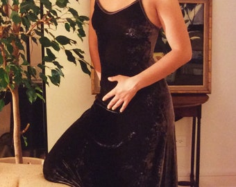 Long Velvet Dress Vintage 90's Black Spaghetti Strap Italian Velvet Joanna Trojer Old Stock Maxi Dress with Bra Black Elegant Evening