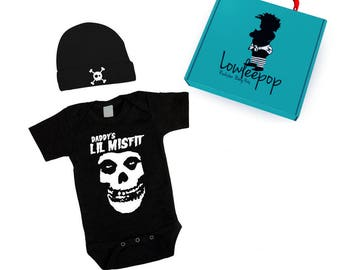 ROCKSTAR BABY KIT Daddy's Lil Misfit black onesie, skull hat & optional gift box