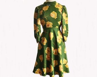 Vintage 70s moss green satin dress/ yellow flowers/ poppy dress/ handmade floral dress/ garden party dress