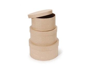 Paper Mache Box Set - 3 boxes per set in 8, 9 and 10 Inch - Kraft Cardboard Craft Supplies
