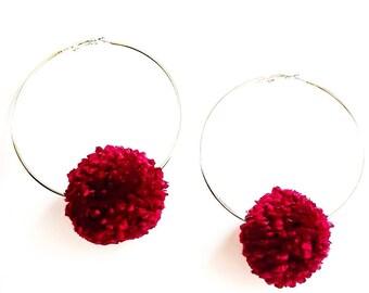 pompom hoops, pompom earrings, hoop earrings, pompom hoop earrings, gift for her, boho earrings, statement earrings, birthday gift,