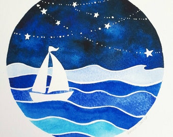 Dreaming of the Ocean, giclee print of an original painting by Gemma Carter