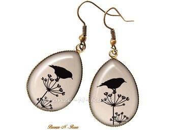 Earrings drop shadow bird bronze cabochon bronze-n-roses