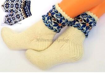 White Blue Hand Knitted Wool Socks White Blue Women's Socks White Blue Girl's Socks Natural Wool Men's Socks Winter Socks Patterned Socks