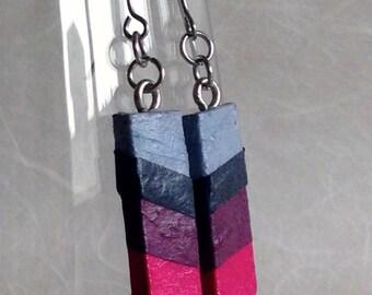 Blue Pink Navy Striped Hanji Paper Earrings OOAK Patchwork Blue Purple Fushia Hypoallergenic Dangle Earrings Lightweight Small Earrings