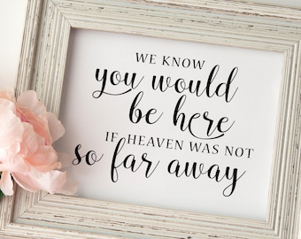 wedding memorial sign . We know you would be here wedding remembrance sign . in memory of . wedding sign . Printable wedding signs