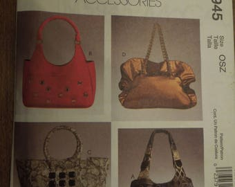 McCalls M5945, Four lined bags, handbags, purses, womens accessories, UNCUT sewing pattern, craft supplies