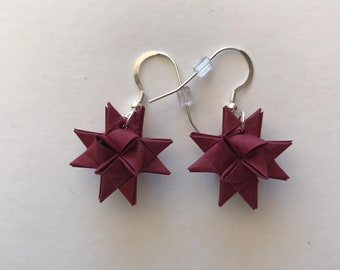 Moravian Star Earrings—Maroon