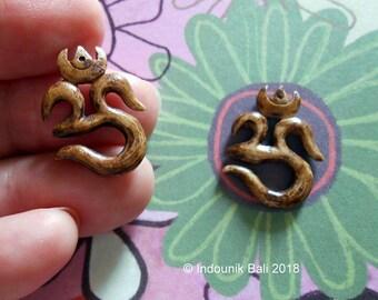 Om 20mm Carved Bone Brown Pendant Beads Earring Pair