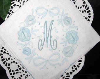Bride Gift Handkerchief Initial M E B R K A S D F or P Blue Wedding Hanky Monogram Hankerchief Monogrammed Embroidered Hankie Hanky