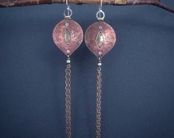 Mixed Metal Earrings Ling Earrings Artisan Metalsmith OOAK