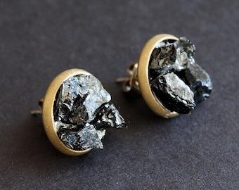 Black Tourmaline Cluster Stud Earrings, Raw Black Tourmaline Earrings