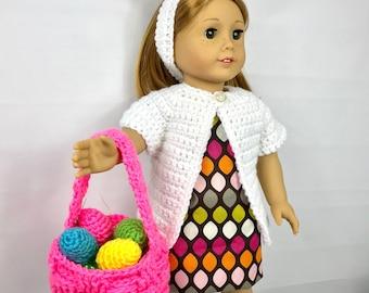 """Panier de Pâques, 18"""" poupée lapin oreilles serre tête, panier de Pâques de poupée de 18 pouces, oeufs de Pâques, accessoires de Pâques poupée 18 pouces"""