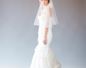 Two-Tiered Elbow Length Wedding Veil, Elbow Length Bridal Veil, Short Veil, Short Wedding Veil, STYLE: ELISE