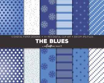 """The Blues Digital Papers • 12 Hi-Res Print Designs • 12"""" x 12"""" Backgrounds• Commercial & Personal Use • Instant Art Downloads"""