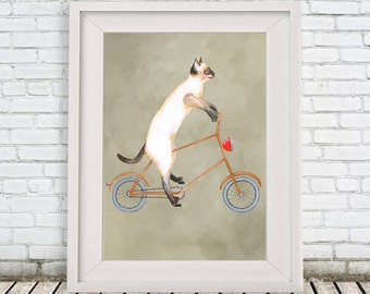 Cat on bicycle, Cat Print, cat illustration, sportif cat, cat in action, cat artwork, cat painting, cat art, cat drawing, by Coco de Paris