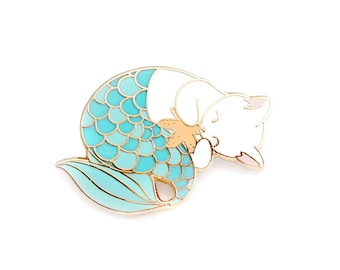 Blue purrmaid enamel pin (mermaid cat hard enamel pin lapel pin badge jewelry cute mermaid jewelry white cat pin cloisonne backpack pins)