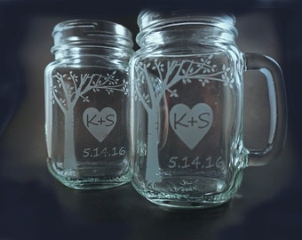 Personalized Mason Jar Mugs with Blooming Sweetheart Tree – Mothers Day Gift – Perfect Gift for the Bride and Groom! Mason Jars – Mason Mug