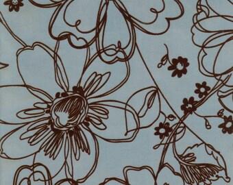 Blue Floral Flocked Fabric - 1 Yd