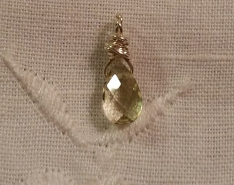 SALE***  Faceted Citrine Briolette Sterling Silver Charm