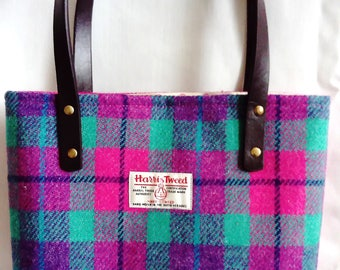 Harris Tweed Hand Made Firm Hand Bag in Pink, Lilac and Jade with Spotty Linen Lining, Internal Zip Pocket, Magnetic Snap & PU Handles