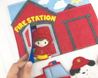 Fireman Quiet Book, gift for children, fire fighter, fireman pretend play, superhero, Christmas gift for boys